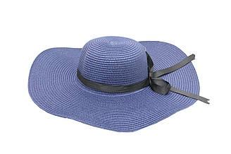Женская летняя пляжная шляпа от солнца с широкими полями синего цвета с бантом