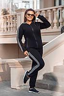 Женский спортивный костюм черного цвета Турецкая двунитка Размер 48 50 52 54 , фото 1