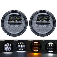 Универсальные светодиодные Led фары 7 дюймов мощность 80W ДХО Ангельские глазки Нива / Ваз / УАЗ / 2121 / 2101