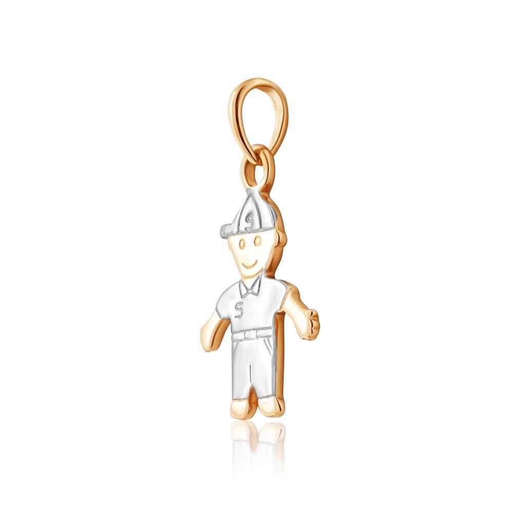 """Золотая подвеска без вставок """"Маленький мальчик"""", комбинированное золото, П0339 Eurogold"""