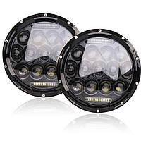 Универсальные светодиодные Led фары 7 дюймов оптика мощность 75W ДХО ангельские глазки Нива 2121 2101 Ваз Уаз