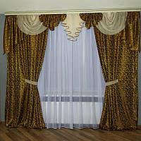 Комплект штор из жаккарда и ламбрекенами с шифоном коричневого цвета (для спальни, гостиной), фото 1