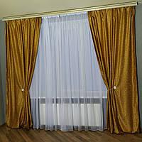 Комплект готовых штор в спальню, лёгкие