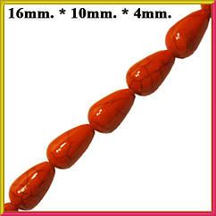 Бусины Капли Большие Цвет Оранжевый Размер 16*10-4 мм. Длина Нити 40 см.