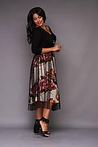 """Нарядное комбинированное миди-платье """"Jennifer"""" с сеткой (большие размеры), фото 2"""