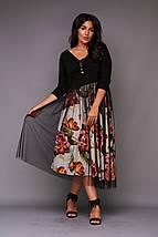 """Нарядное комбинированное миди-платье """"Jennifer"""" с сеткой (большие размеры), фото 3"""