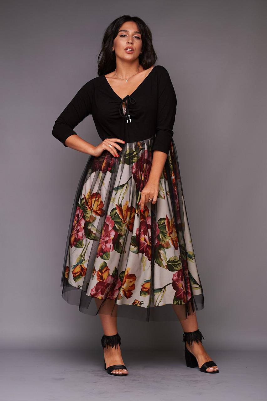 """Нарядное комбинированное миди-платье """"Jennifer"""" с сеткой (большие размеры)"""