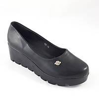 Женские Туфли на Танкетке Чёрные на Платформе Баталы