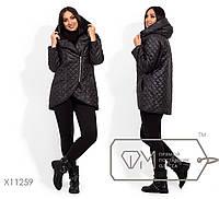 Удлиненная куртка с короткой застежкой-молнией, капюшоном в большом размере 42,44,46,48,50,52,54,56-58,60-62
