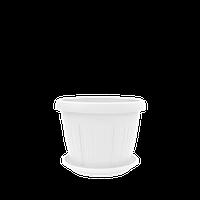 Горшок цветочный Николь 14 см белый 0,8 л, Украина