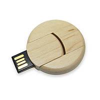 Флешка деревянная круглая для печати логотипа 32 Гб (0247-32-Гб), фото 1