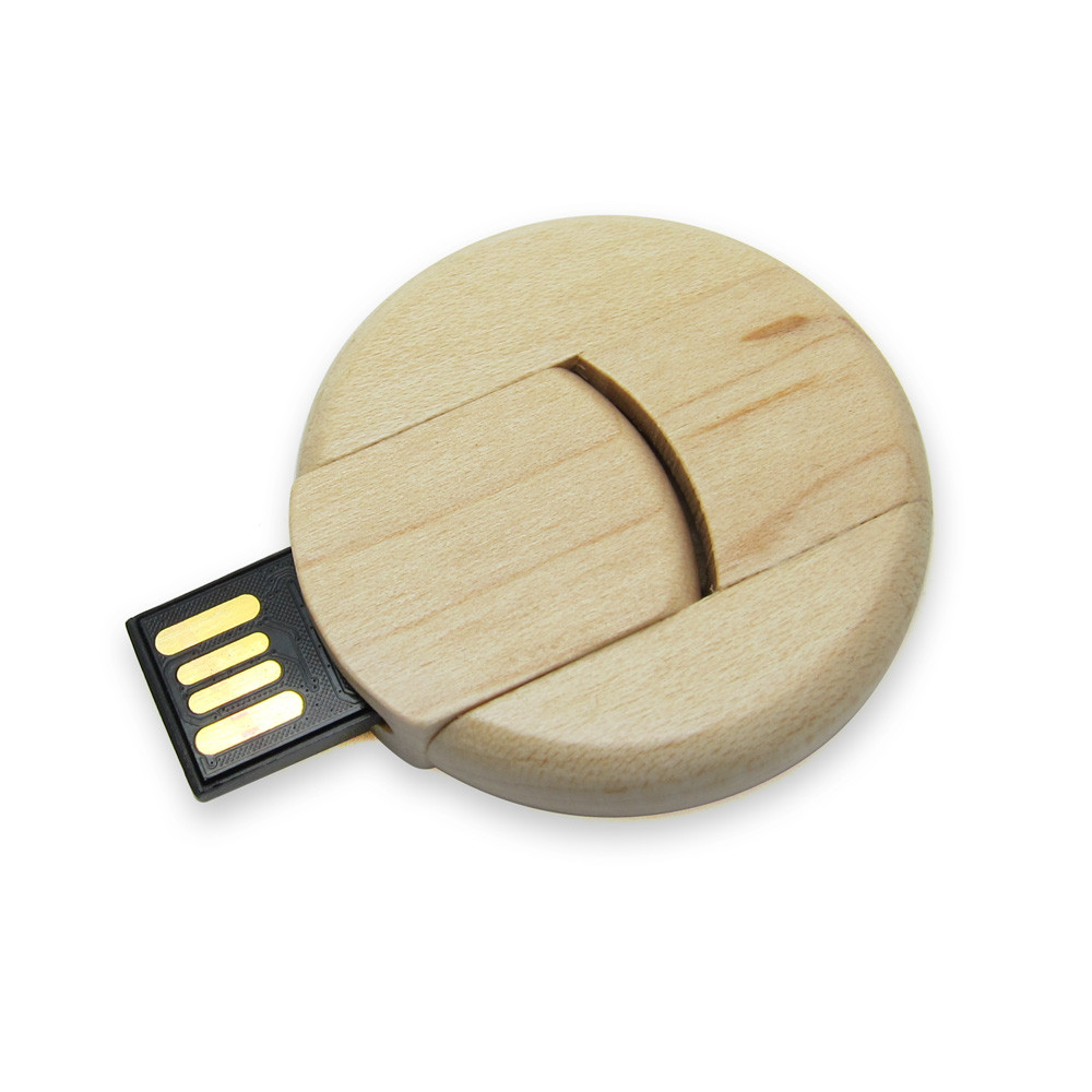 Флешка деревянная круглая под уф-печать 64 Гб (0247-64-Гб), фото 1