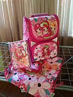 Школьный комплект для девочки. Рюкзак школьный каркасный ортопедический для девочки, пенал, сумка для обуви