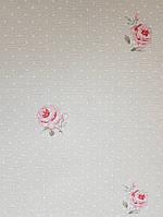 Обои виниловые на флизелине  Grandeco Little Florals LF 2102 кофе с молоком белые кружки розы красные
