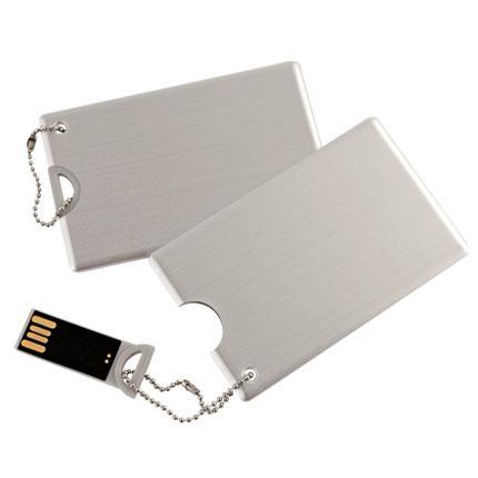 Флешка-карточка металлическая с логотипом 16 Гб (1029-16-Гб)