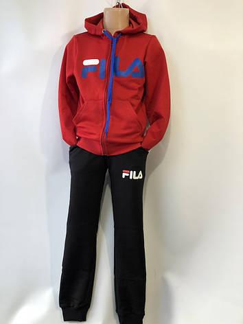 Спортивный костюм для девочки Fils р.6-10 лет опт (реплика) красный+черный, фото 2