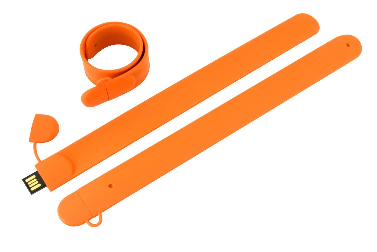 Флешка в виде браслета под логотип оранжевая 64 Гб (0993-6-64-Гб)
