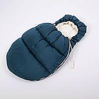 Конверт - кокон зимний BabySoon 45смх85см Умка Темно синий с стеганый с молочным плюшем
