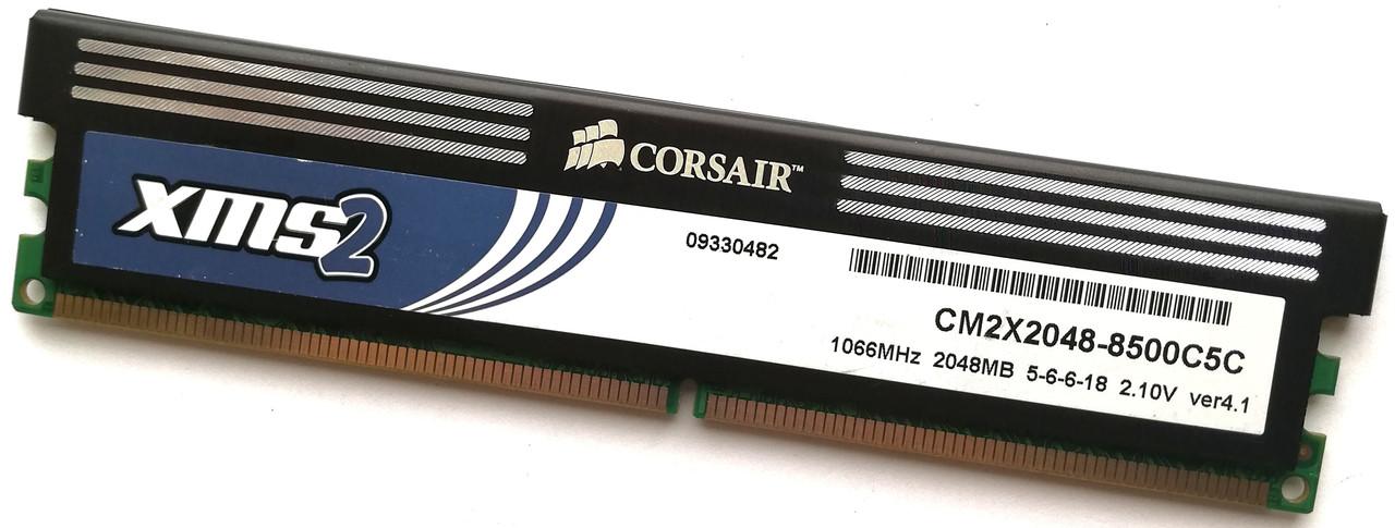 Игровая оперативная память Corsair DDR2 2Gb 1066MHz PC2 8500U CL5 2R8 (CM2X2048-8500C5C) Б/У