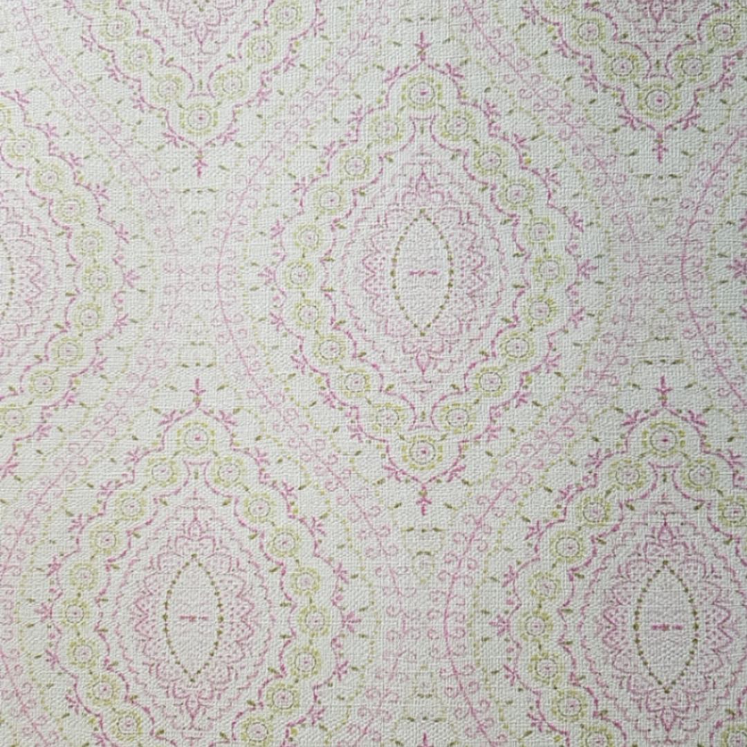 Обои виниловые на флизелине  Grandeco Little Florals LF 3202 восточный рисунок розетки вензеля розовые зеленые