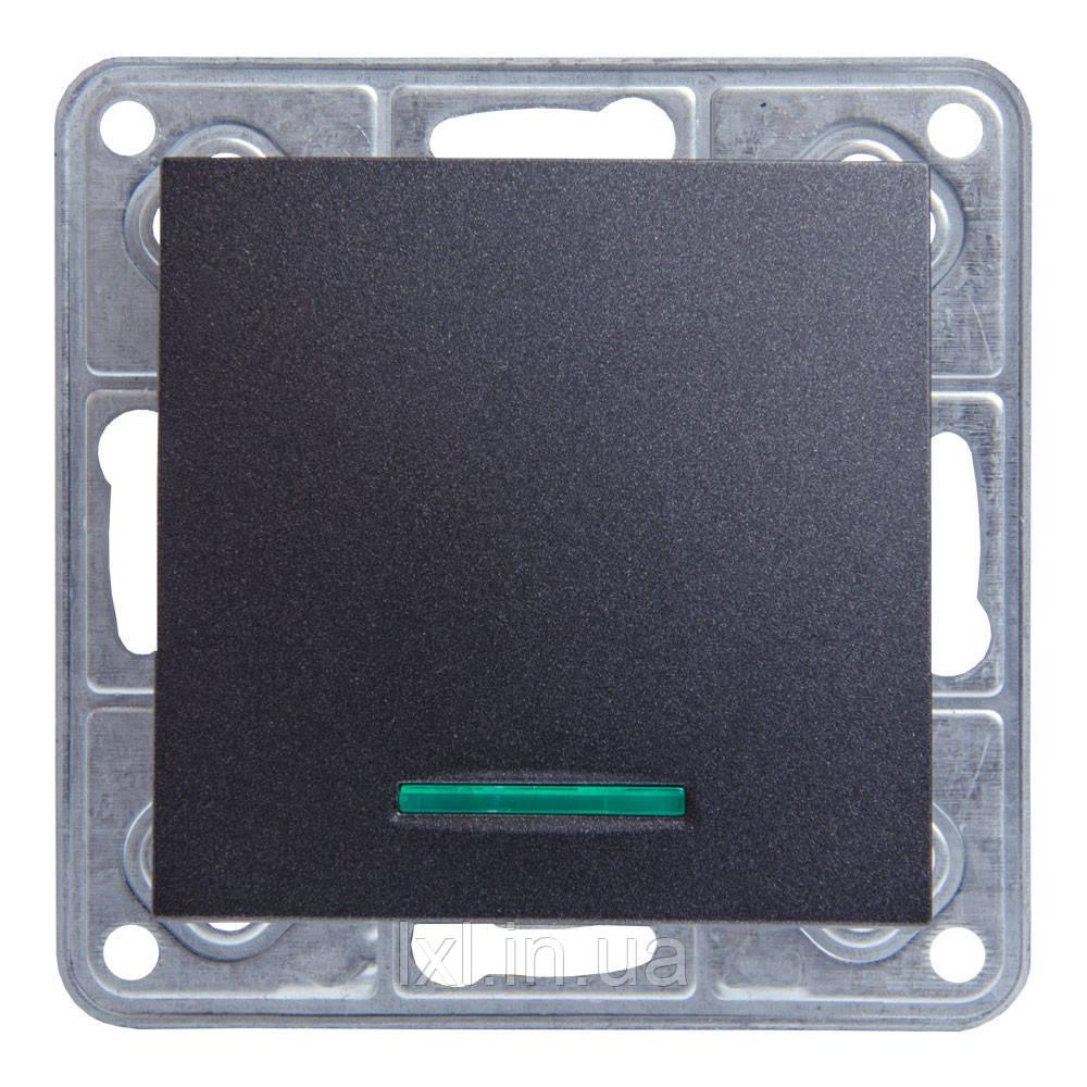 Выключатель с подсветкой графитовый металлик TESLA