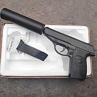 Металлический спринговый пистолет ПМ с глушителем G.3A, Вальтер, страйкбол, пистолет на пульках