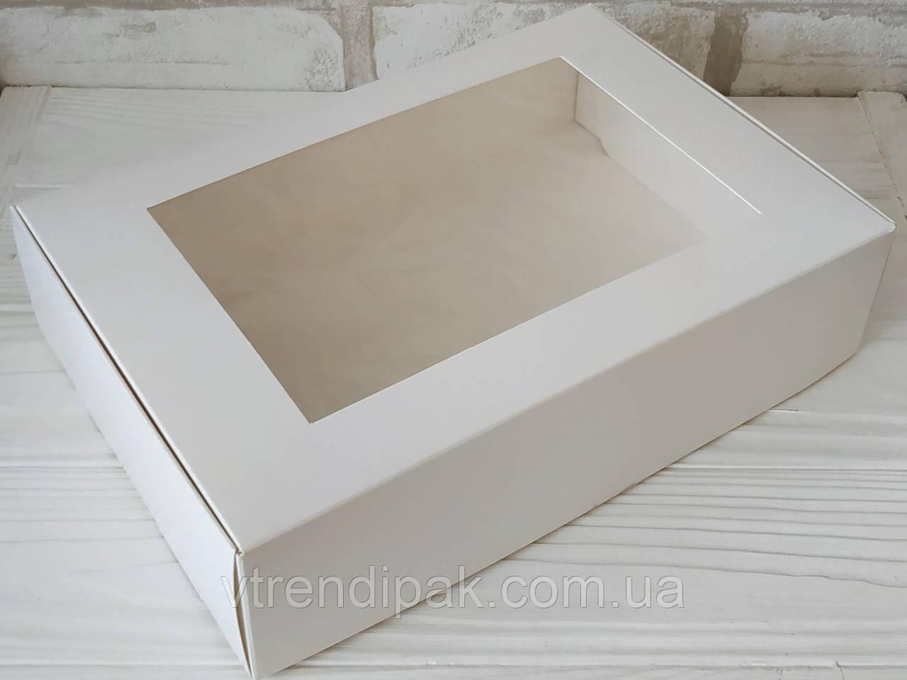 Коробка  для десертів, тістечок, еклерів 265*180*65 з мелованого картону з вікном ПВХ-плівка
