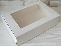 Коробка  для десертів, тістечок, еклерів 265*180*65 з мелованого картону з вікном ПВХ-плівка, фото 1