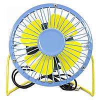 ➤Универсальный USB мини-вентилятор Fan Mini Sanhuai A18 Blue + Yellow охлаждающий с регулируемой ножкой