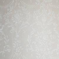 Обои виниловые на флизелине  Grandeco Little Florals LF 3002 бежевые розетки вензеля завитки белые