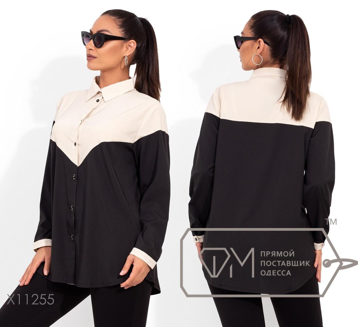 Двухцветная рубашка свободного кроя в большом размере размеры 48, 50, 52, 54
