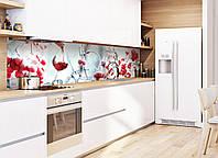 Кухонный фартук Зимнее настроение (фотопечать, вино, иней, зима, ягоды в снегу, пленка самоклеющаяся) 600*2500 мм