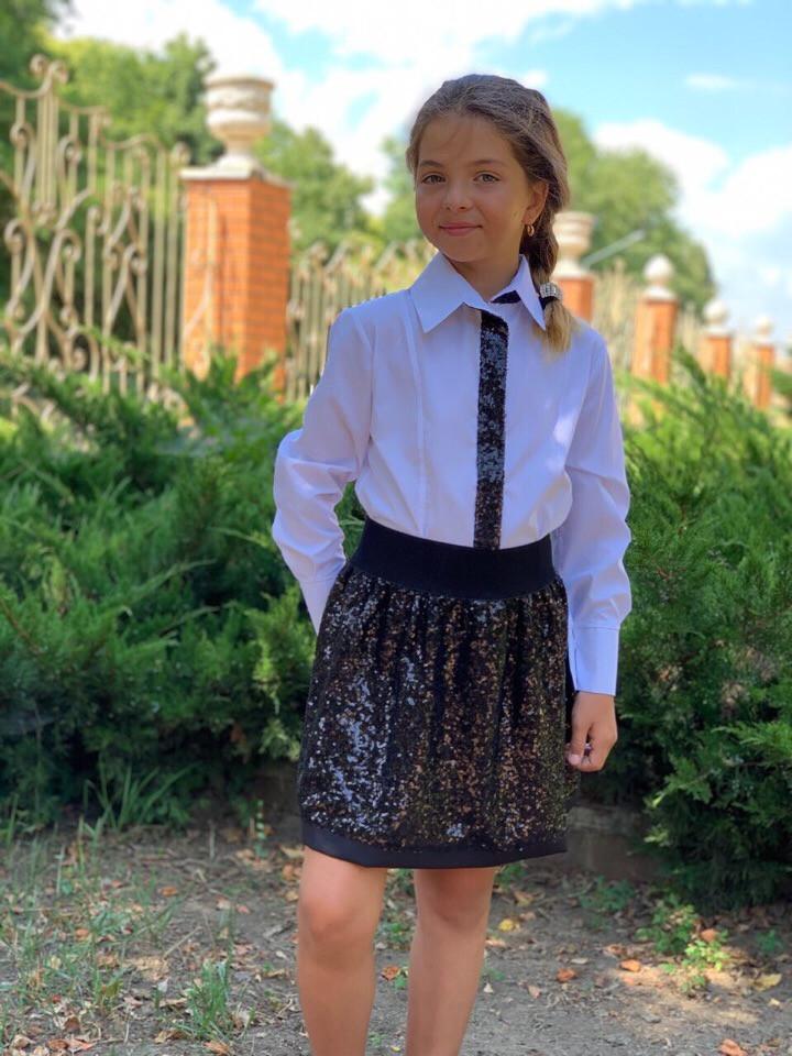 """Нарядная детская рубашка для девочки """"SHINE"""" с пайетками и длинным рукавом (2 цвета)"""