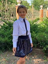"""Нарядная детская рубашка для девочки """"SHINE"""" с пайетками и длинным рукавом (2 цвета), фото 3"""