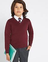 Школьный джемпер бордовый на мальчика 8-9 лет Cotton Rich Burgundy Marks&Spencer (Англия)
