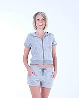 Женский летний спортивный костюм велюр Серый размер 40-44 XS