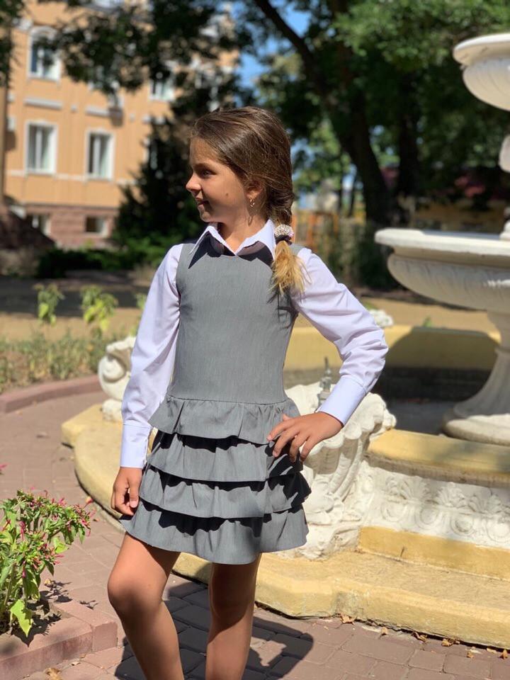 """Детский школьный сарафан для девочки """"Эвелина"""" с оборками (3 цвета)"""