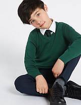 Школьный джемпер темно-зеленый на мальчика 9-10 лет Cotton Rich Green Marks&Spencer (Англия)