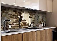 Кухонный фартук Lion Coffee (фотопечать, кофе, кофейная тематика, чашка, кирпич кладка, пленка самоклеющаяся) 600*2500 мм