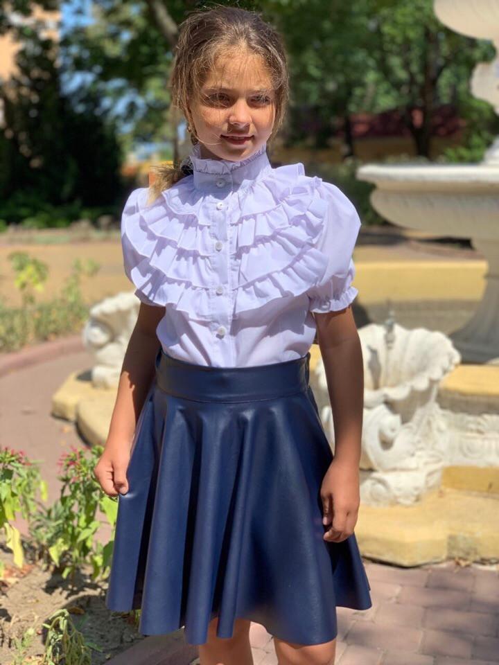 """Детская кожаная школьная юбка-клеш """"School"""" на резинке (2 цвета)"""