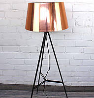 Торшер светильник с абажуром под медь в стиле лофт Модель 1 на металлической треноге
