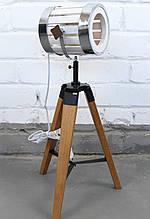 Світильник торшер прожектор в стилі лофт на низькій деревяною тринозі Модель 13
