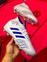 Бутсы футбольные Adidas Predator 18+FG/адидас предатор без шнурков Белые