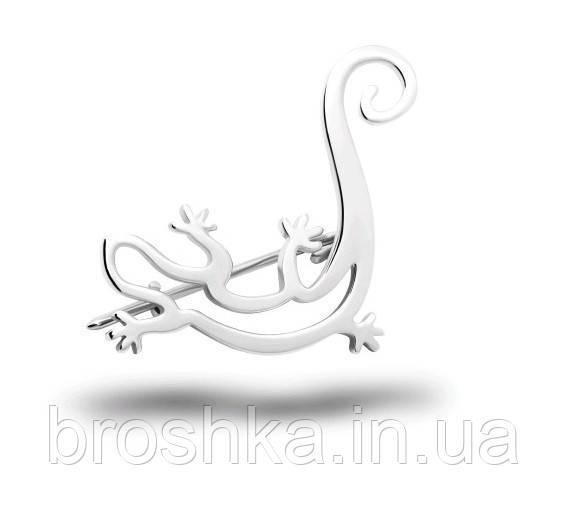 Серебряная брошь ящерица