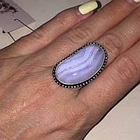 Сапфирин красивое кольцо овал с сапфирином в серебре. Кольцо с сапфирином голубым агатом 19 размер Индия, фото 1