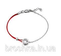 Серебряный браслет красная нить с цепочкой и камнем