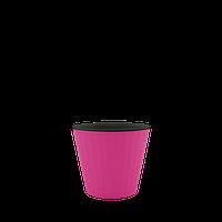 Горшок цветочный Ибис 17,9х14,7 см с двойным дном розово-черный, Украина