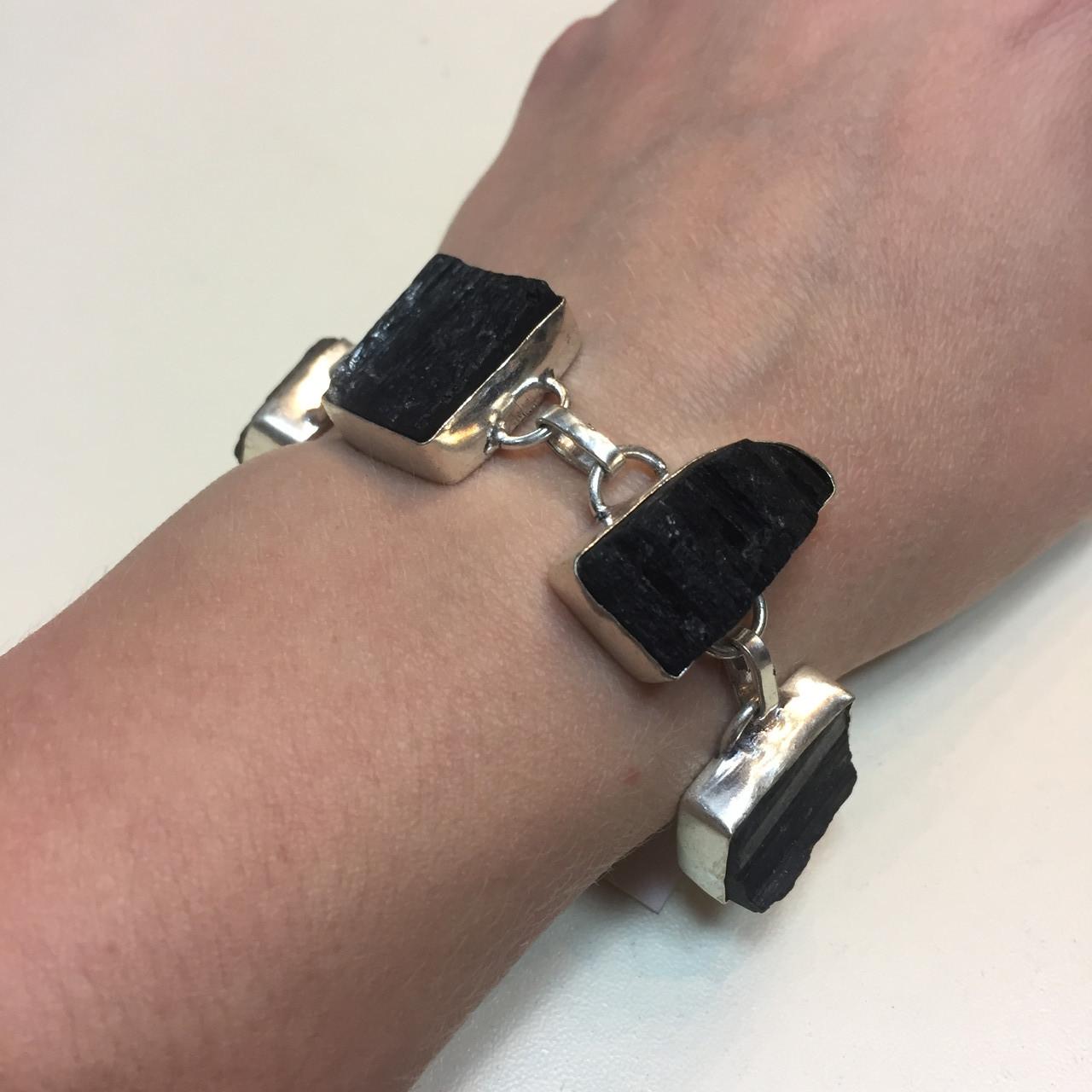 Черный турмалин браслет шерл натуральный черный турмалин в серебре Индия