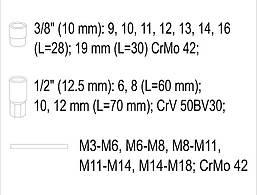 """Головки для скрученных гаек 1/2"""" и 3/8"""" YATO YT-06033, фото 3"""