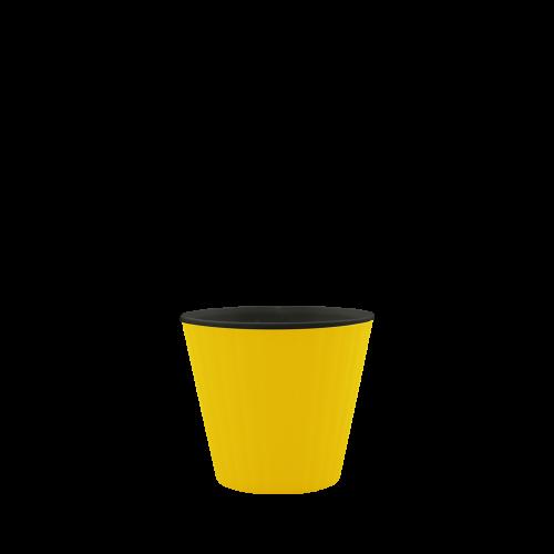 Горшок цветочный Ибис 13х11,2 см с двойным дном желто-черный 0,86 л, Украина